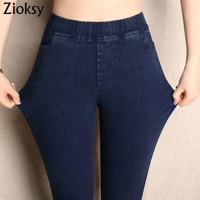 Big Yards 2017 Spring Autumn Lmitation Jeans Pants Women Elastic Waist Trousers Ladies Vintage Pencil Slim Skinny Jeans 3 <font><b>Colors</b></font>
