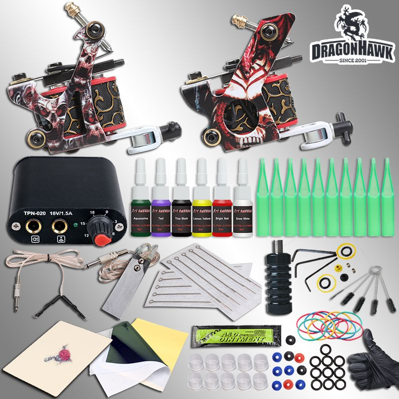 Complete Beginner Tattoo Kit Machine Guns Inks Needles Tattoo Power <font><b>Supply</b></font>