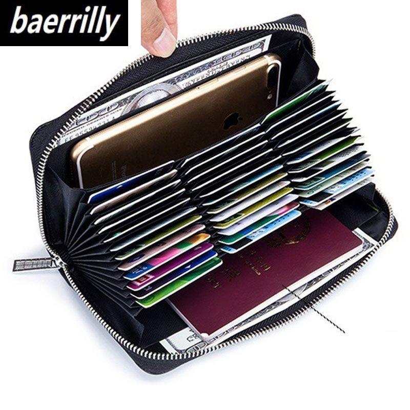 Véritable cuir de vache anti-vol 36 porte-carte étui pour cartes de crédit organisateur passeport portefeuille hommes RFID carte de blocage portefeuilles sac à main