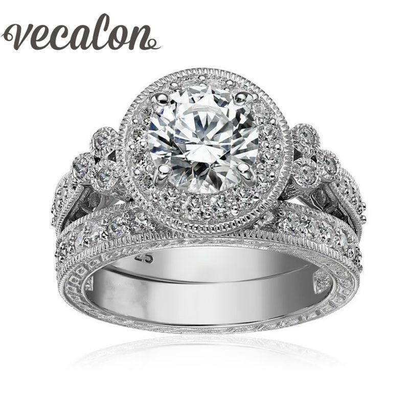 Vecalon Antique Jewelry Flower Women ring Round cut 2ct AAAAA Zircon Cz 925 Sterling Silver Female wedding Band ring Set