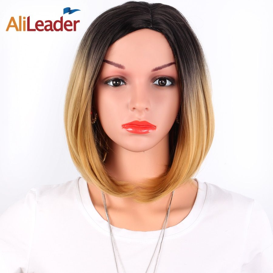 AliLeader African American Bob Wigs Short Shoulder Length Ombre Blonde Green 8 <font><b>Colors</b></font> Straight Synthetic Wigs For Black Women