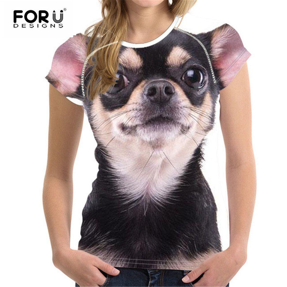 FORUDESIGNS Kawaii Chihuahua femmes t-shirt d'été femme hauts chemises femmes pour filles T-Shirts à manches courtes T-Shirts poméraniens