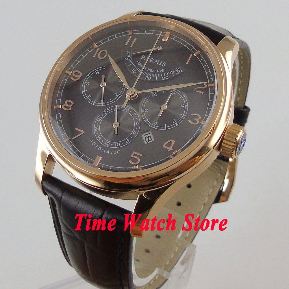 Luxus 42mm parnis herrenuhr Multifunktions goldene fall Saphirglas 26 juwelen miyota 9100 Automatische bewegung 998