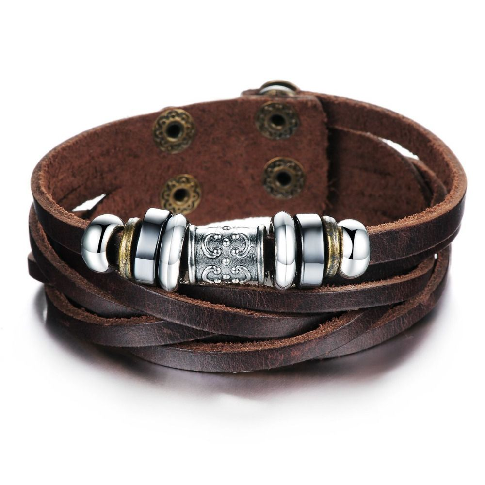 Male Casual Bracelet Oxhide Cow  leather quality Bracelet  bangle Charm French Jewelry  Layers  Cowhide Bracelet Bangle 826