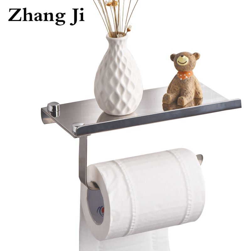ZhangJi Concise Wall <font><b>Mount</b></font> Toilet Paper Holder with Phone Shelf Bathroom Stainless Steel Roll Paper Holder Mobile Phone Rack