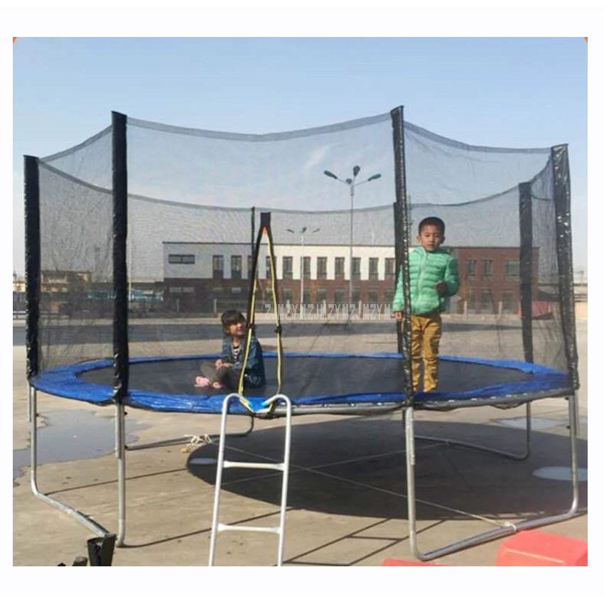 14 Feet Practical Trampoline With Safe Protective Net Jump Safe Bundle Spring Safety With Ladder Load Weight 600kg High Quality