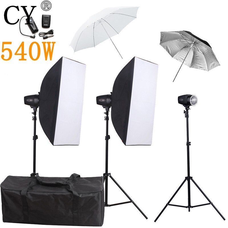 CY Photography Studio Soft Box Flash Lighting Kits 540w Flash Light Softbox Stand Set Photo Studio Accessories Godox K-180A