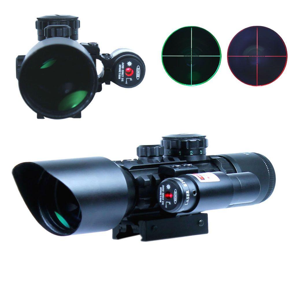 3-10x40 Тактический оптический прицел c красным лазер двойной подсветкой MIL-точкой и рельсовыми креплениями для охота и страйкбол