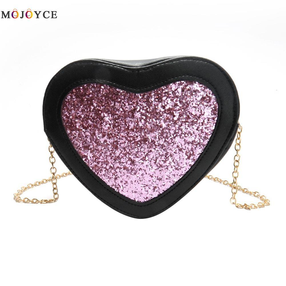 Hot Sellers Woman Evening bag Love Heart Design Glittered Clutch bags Wallet Wedding Purse Party Banquet girls shoulder bag