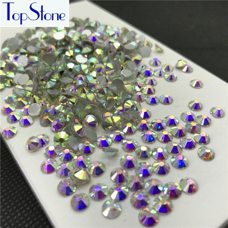 Topstone Crystal Clear AB Couleur ss3-ss34 Ronde En Verre Cristal Flatbacks Nail Art 3D Pierres Colle Sur Le Hotfix Non