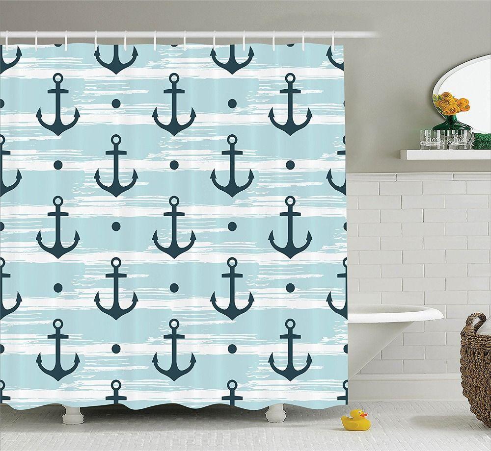 Shower Curtain Pattern With Anchors Modern Stylized Adventurous Striped Trendy Coastline Fun Waterproof Polyester Bath Curtain