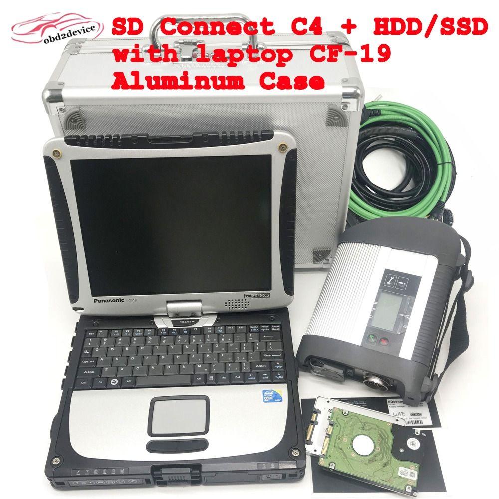 MB STERN C4 SD Verbinden C4 scanner mit HDD/SSD Software V2019.03 Plus Super Toughbook CF19 für auto system prüfung diagnose sd c4