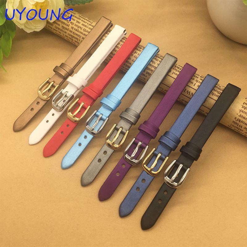 Bracelet de montre en soie filée ultra-mince 6mm 8mm 10mm bracelets de montre en cuir de remplacement de petite taille pour les femmes