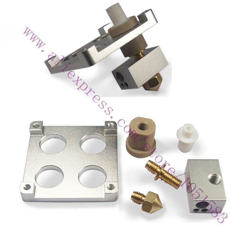 Ultimaker Original /Original+ 3D Printer Hot End Pack Budasch nozzle J-head with PEEK &Heating block for 1.75mm /3.mm 3D Printer