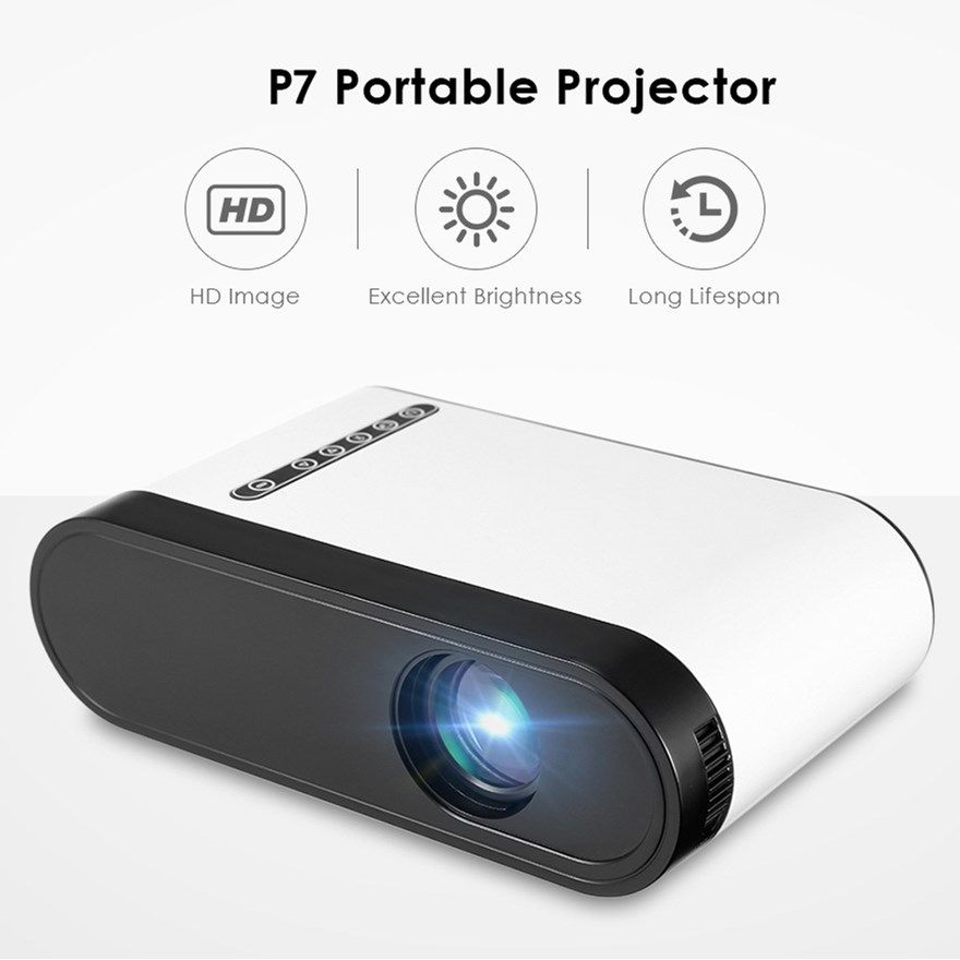 P7 Mini LCD Projector 600 Lumens Portable Porjector Support 1080P 320 x 240 Mini Projector with Speaker For Video Games Movie