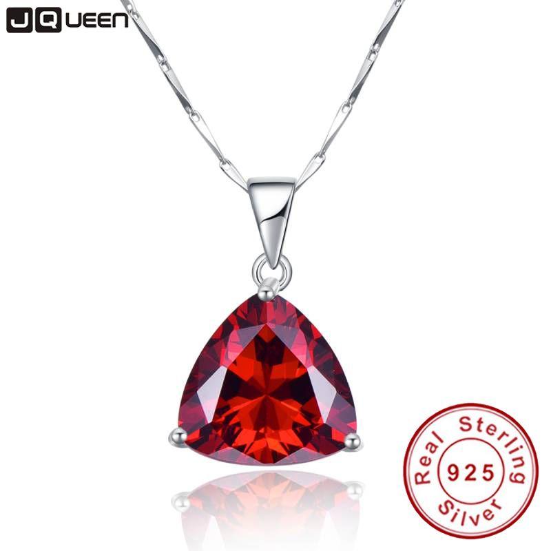 Gros chaîne de grenat colliers 925 en argent Sterling géométrique Triangle colliers et pendentifs bijoux collier Colar de Plata
