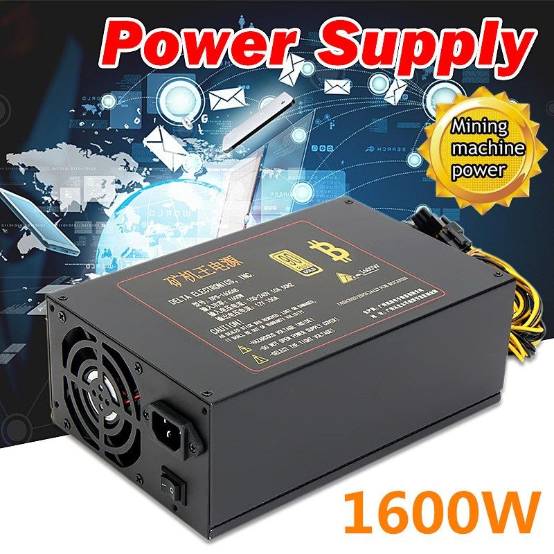 DPS-1600AB 100-240V 1600W Power Supply Bitmain PSU 6-Pin PCI for Antminer S9 S7 Miner Mining Dedicated Machine