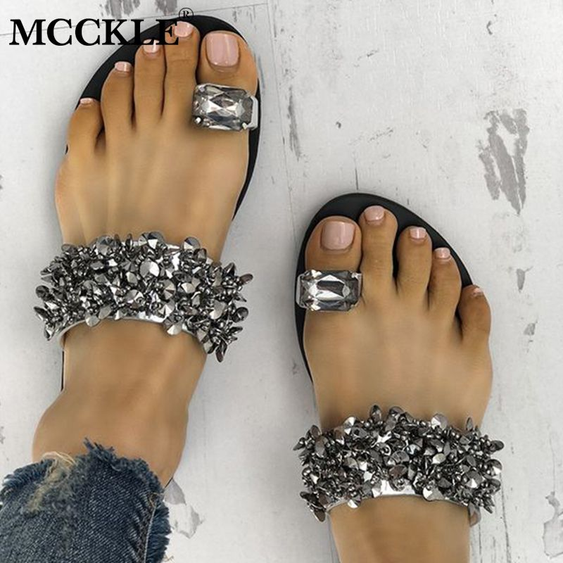 MCCKLE Women Casual Summer Flat Slippers Flip Flops Female Crystal Outside Shoes For Girls Comfortable Woman Footwear Leisure
