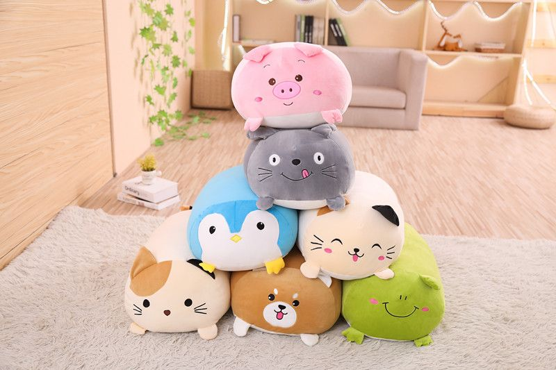 2019new Soft Animal Cartoon Pillow Cushion Cute Fat Dog Cat Totoro Penguin Pig Frog Plush Toy Stuffed Lovely kids Birthyday Gift