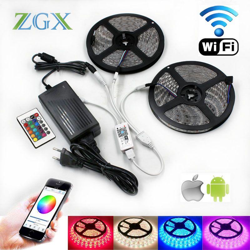 5050 RGB Wifi Contrôleur LED Bande lumière 5 m 10 m 15 m 60led/m Étanche ip 65 néon flexible Bande diode ruban DC 12 v adaptateur ensemble