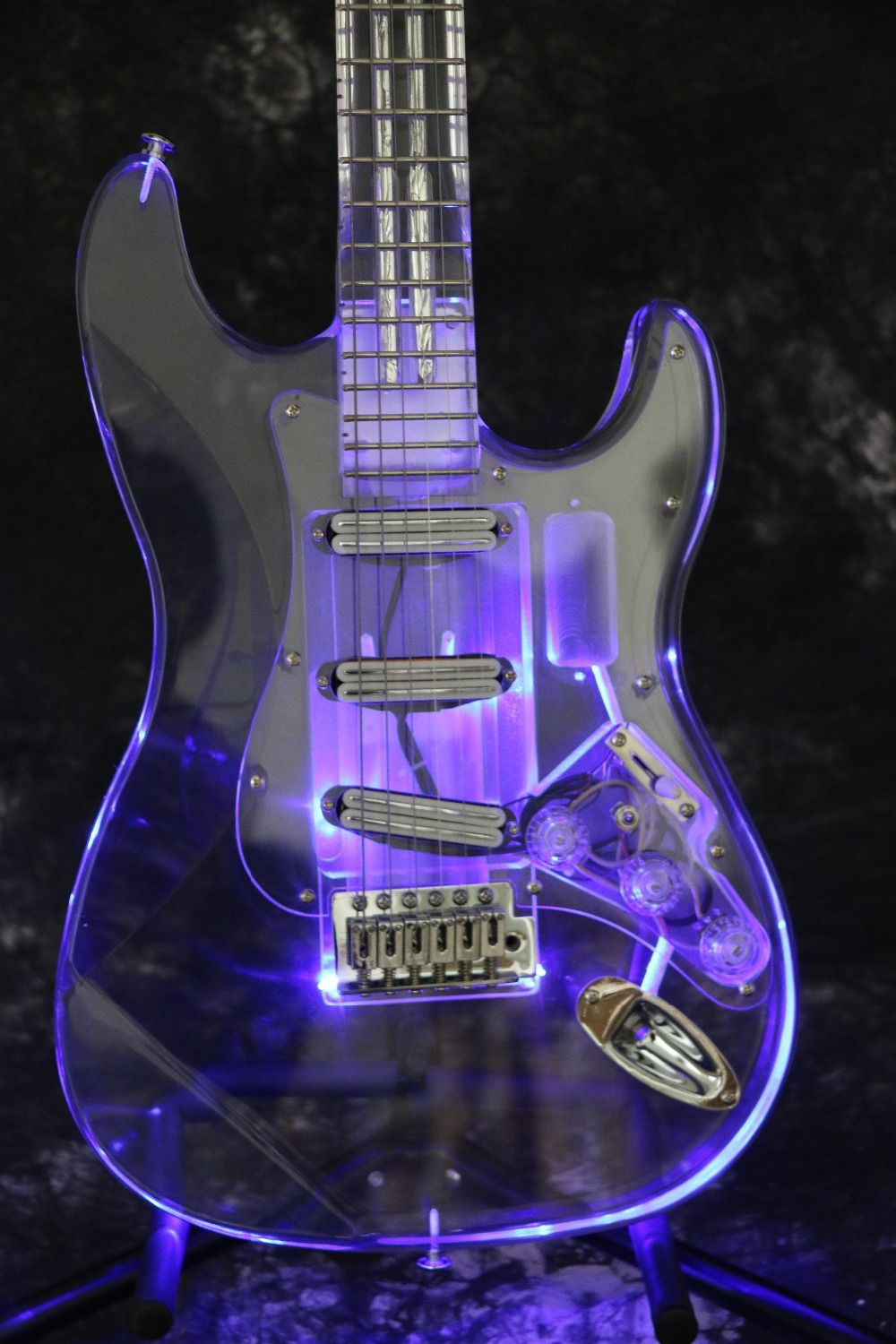 Instock Starshine SR-LBC-030 colorful crystal style electric guitar led light body and neck full acrylic body and neck
