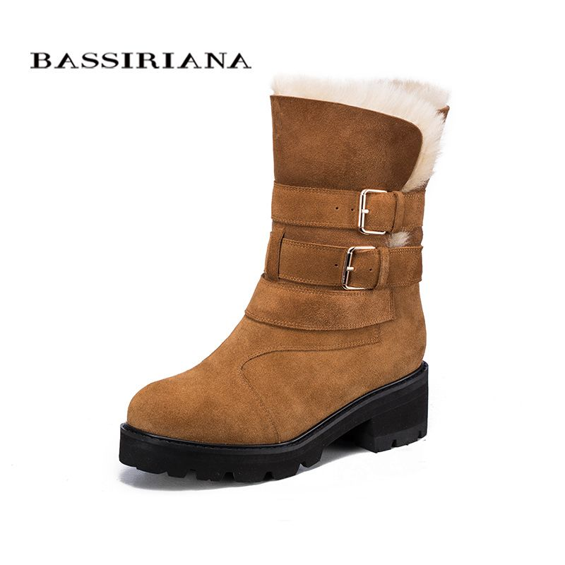 BASSIRIANA Fashion 2017 New Winter genuine leather Warm Winter Boots Female Snow Boots Flats Shoes High Quality