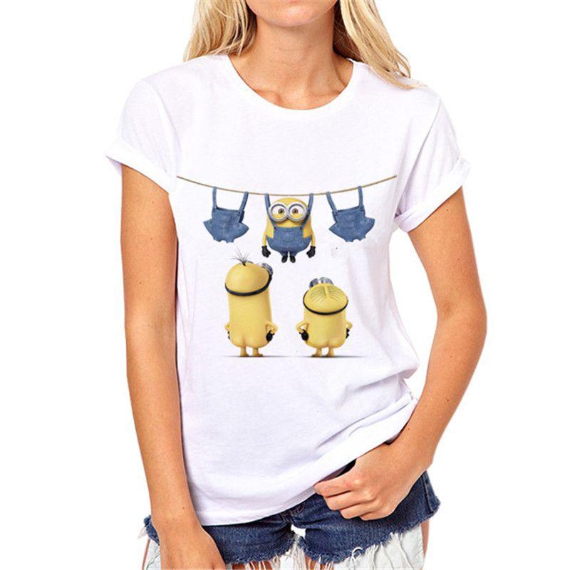 2018 D'été De Mode minions T-shirt Femmes 3D Impression Lolita Bonne qualité T-Shirt Kawaii de bande dessinée top qualité Fille vêtements N3-20 #