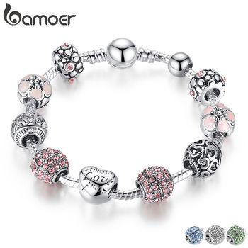 BAMOER Antique Silver Charm Bracelet & Bangle com Amor e Cores 18 CM 20 4 Contas Flor de Jóias de Casamento Das Mulheres CM 21 CM PA1455