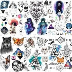 25 Design Water Transfer Spaceman Temporary Tattoo Sticker Outer Space Waterproof Fake Flash Tattoo Planet Astronaut Girl ALZ406
