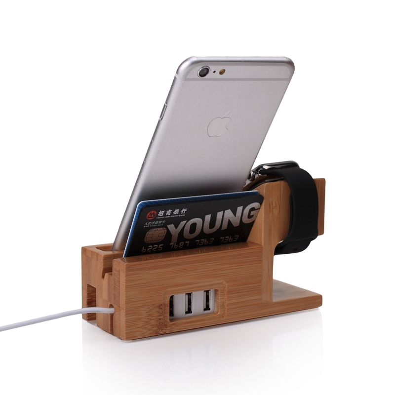 Bamboo Wood with 3-port USB Charging Stand Dock Station Bracket Holder For Apple Watch 8 X +/For Galaxy S8 + A5 J3 A8 S9 Plus