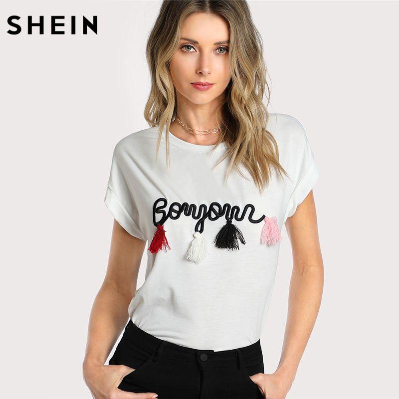 SHEIN T shirt Women Tops Summer O-neck T shirt Batwing Sleeve Tassel Detail Embroidery Dolman Top White <font><b>Short</b></font> Sleeve T-shirt