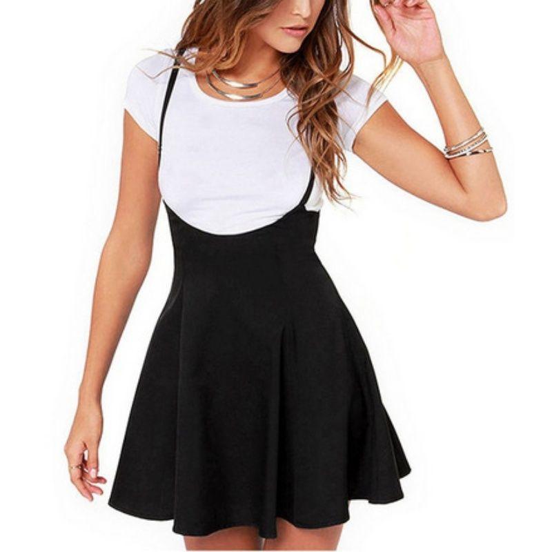 Femmes Jupe Noire avec Bretelles Plissé Jupe Jarretelle Jupe Patchwork Couleur Femelle Confortable Taille Haute Mini Jupes D'école
