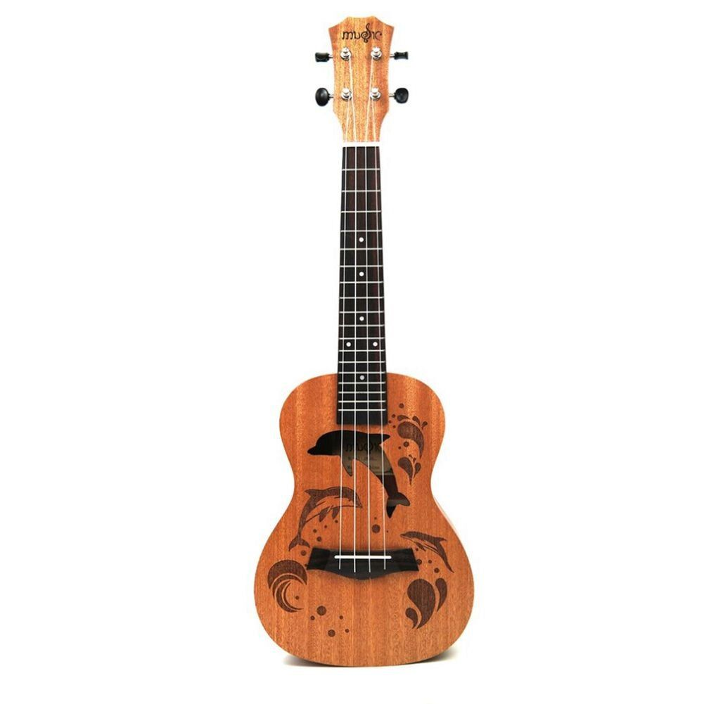 21 inch Ukulele Uke 4 Nylon Strings Sapele Rosewood Guitar Dolphin Pattern Universal Acoustic Instrument