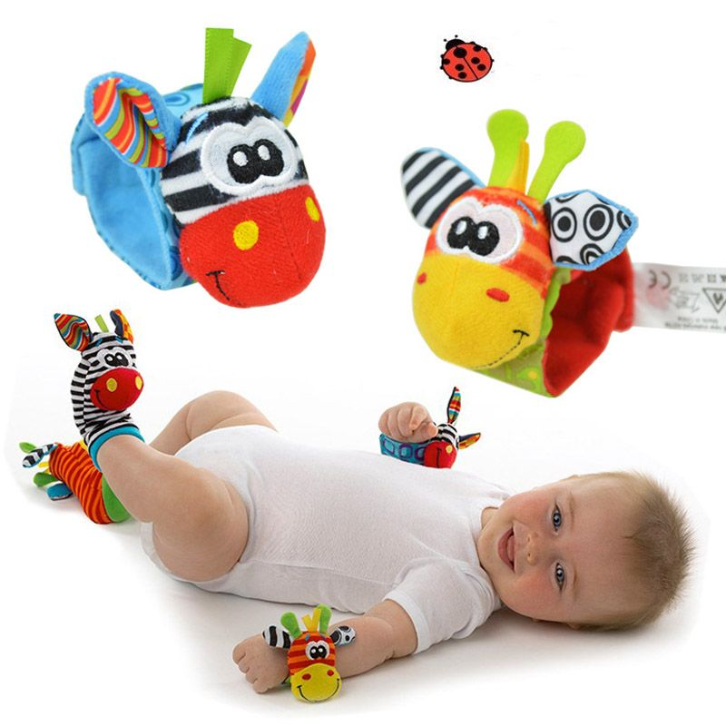 Baby Socks Rattle Toys 2018New Garden Bug Wrist Rattle Foot Socks Multicolor 2pcs Waist+2pcs Socks=4pcs/lot Meias Free Shipping