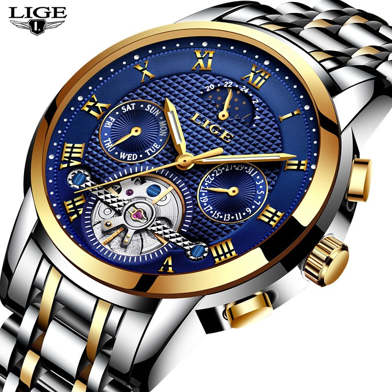 New 2018 LIGE Brand Watch Men Top Luxury Automatic Mechanical Watch Men Stainless Steel Clock Business Watches Relogio Masculino