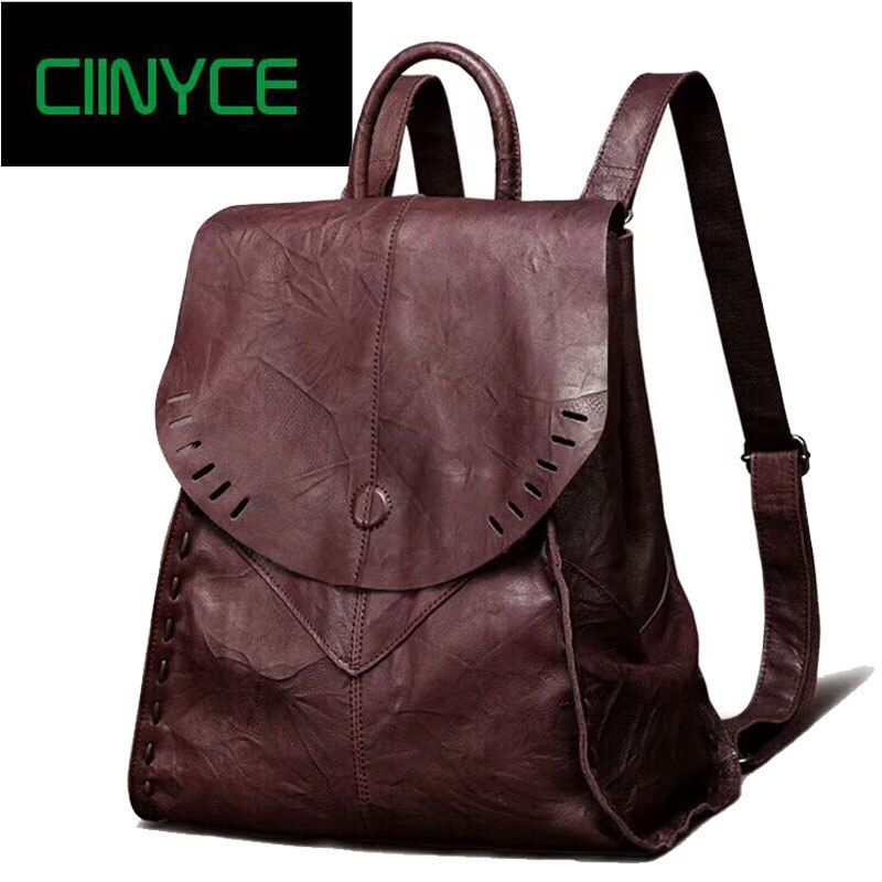 Vintage women Soft genuine leather Travel laptop backpack lady's cow Skin hand coloring coffee Black Solid knapsack Bags