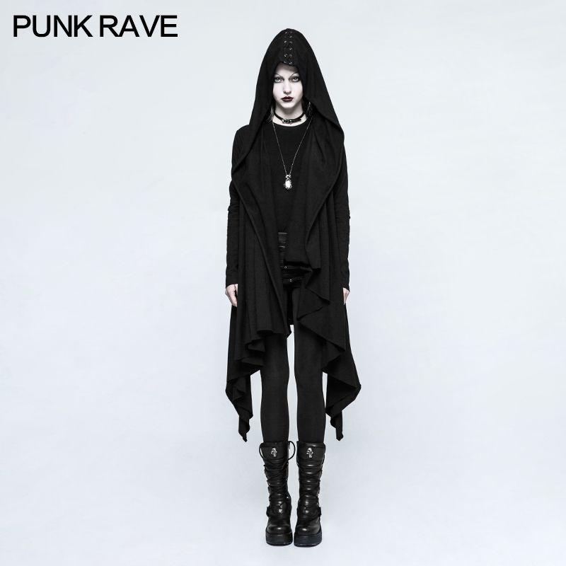 PUNK RAVE Novelty Women Casual Gothic Black Knitted Hooded Jacket Asymmetrical placket Sleeve hole eyelet DrawString design