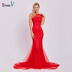 Dressv rouge robe de soirée pas cher sans manches sirène scoop cou dos nu balayage train de mariage partie formelle trompette robes de soirée