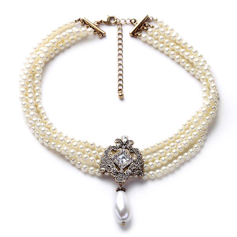 2019 fête éblouir Noble multicouche perles chaîne romantique Choker collier simulé perle collier bijoux de mode