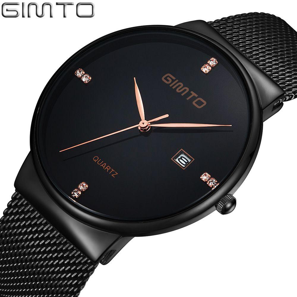 GIMTO Top Luxury Men Watch Stainless Steel Minimalism Ultra Thin Fashion Black <font><b>Rhinestone</b></font> Gold Business Men Quartz Wristwatch