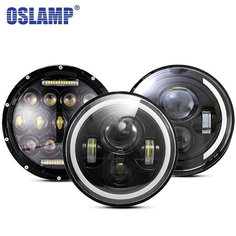 Oslamp 30 W 7 pouces Ronde phare led Haute Faible Faisceau de Lumière Halo Angle Yeux DRL Phare Pour Jeep Wrangler Off route 4x4 Moto
