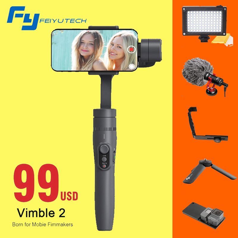 Feiyu vimble 2 Smartphone 3-Axis Handheld Gimbal Stabilizer for iPhone X 8 6 7 Gopro Hero sjcam xiaomi