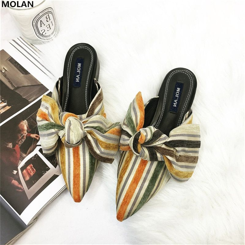 MOLAN Brand 2018 Spring Sweet Big Butterfly Colorful Slippers Woman Shoes Slip On Lady Slides Loafers Mules Flip Flops Casual