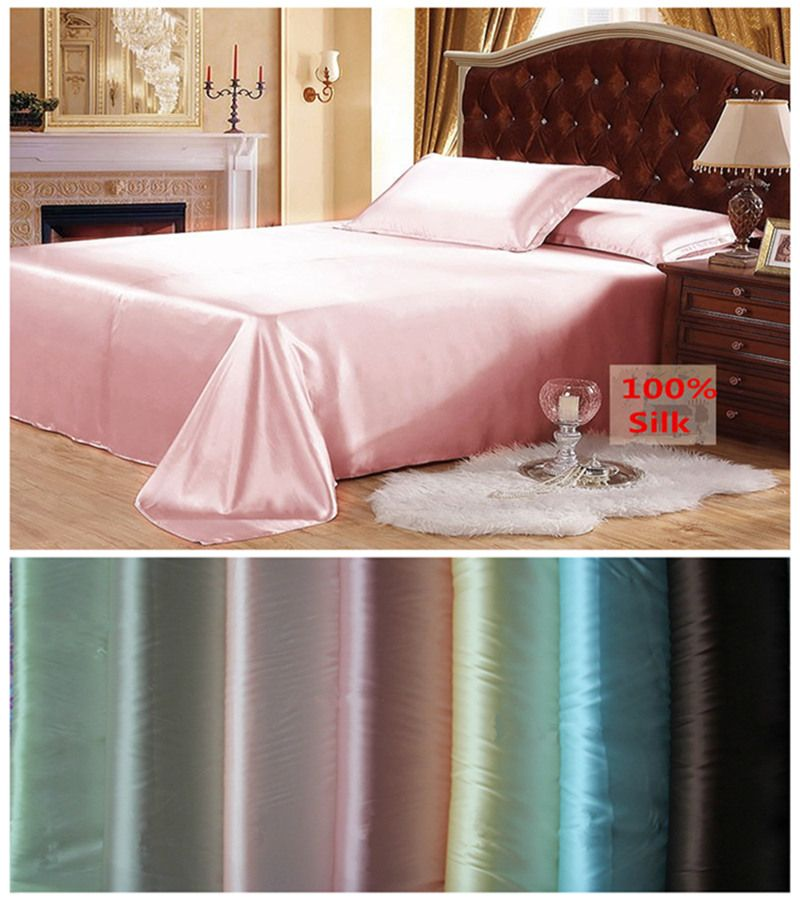 Free shipping 100% Mulberry Silk Flat Sheet Customizable Sheets Top Quality Multicolor&Multi Size For Choose