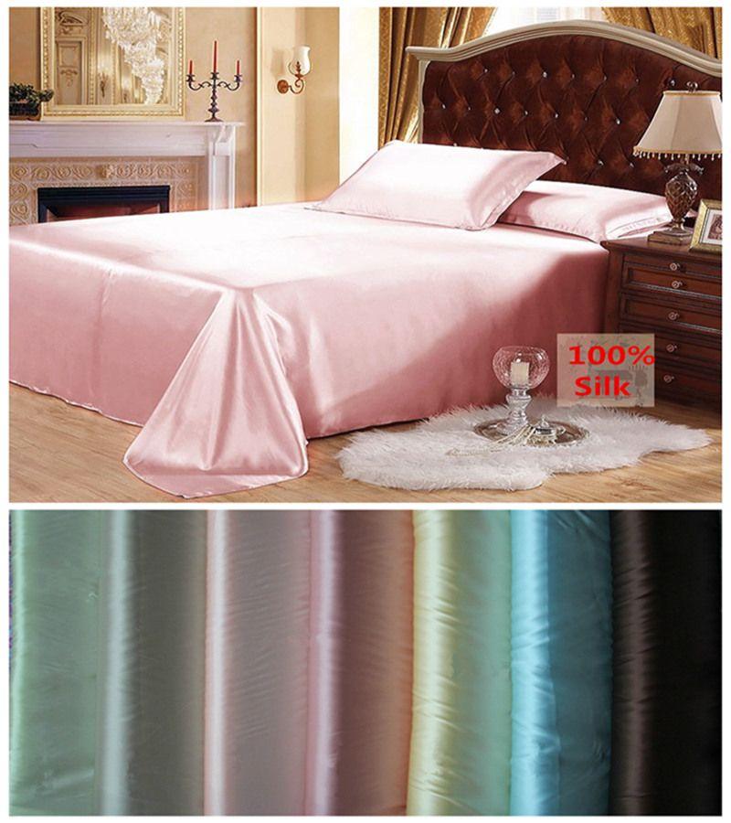 Livraison gratuite 100% Soie Du Mûrier Drap Plat Personnalisable Feuilles Top Qualité Multicolore & Multi Taille Pour Choisir