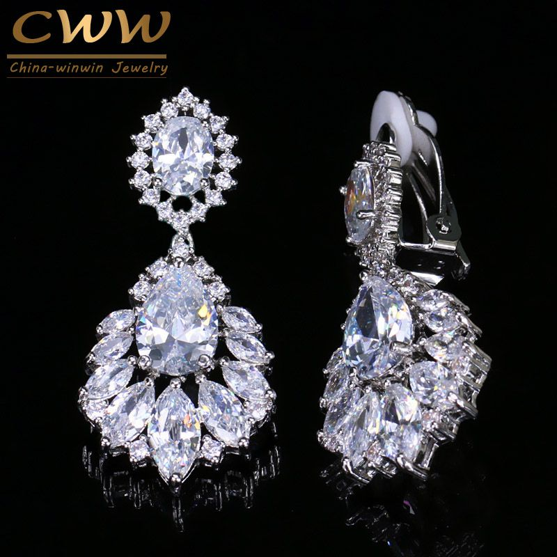 CWWZircons Gorgeous Silver Color Dangle Drop CZ Zirconia Women Long Clip On Earrings For No Pierced Hole Ears CZ006