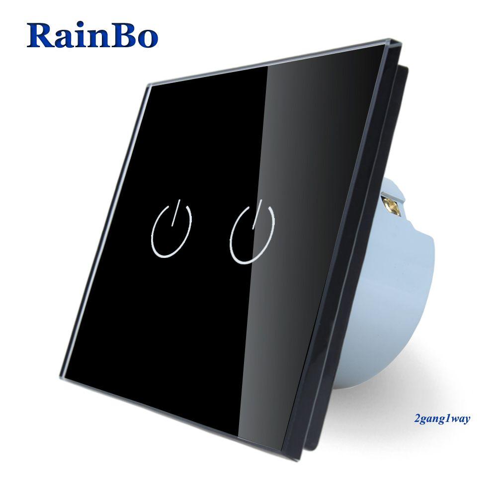 RainBo Brand New Crystal Glass Panel wall switch EU Standard 110~250V Touch Switch Screen Wall Light Switch 2gang1way black
