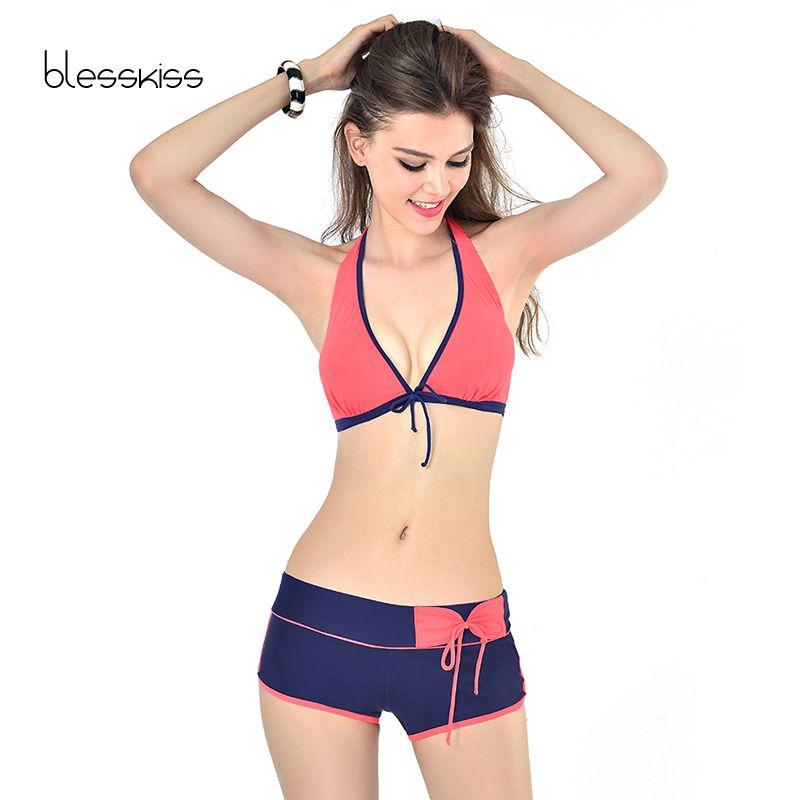 Sexy Brésiliens Maillots De Bain Femmes Bikini 2018 Halter Push Up Maillot de Bain Maillot de bain Plus La Taille Maillot De Bain Pour Dames Avec Shorts