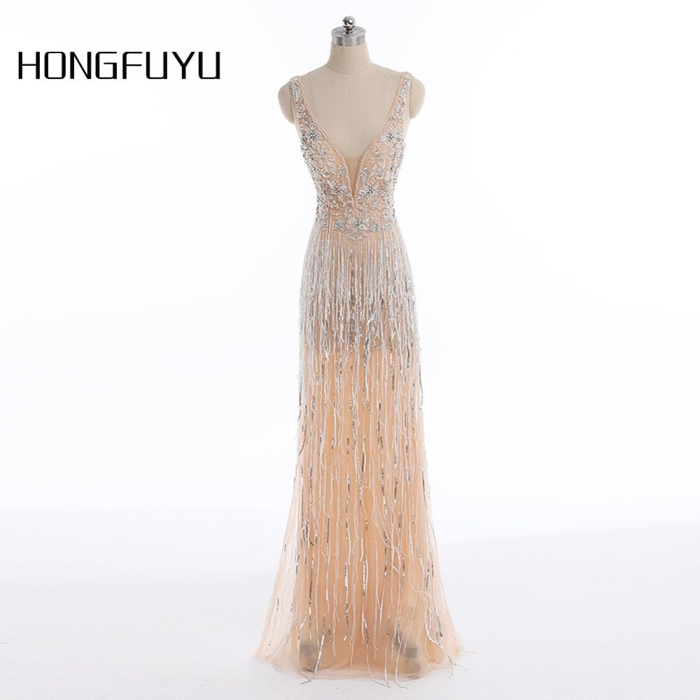2018 New V Neck Sparkly Evening Dress Vestido de Festa Evening Gowns 2018 Elegant Sexy Special Occasion Dresses Prom Real Photo
