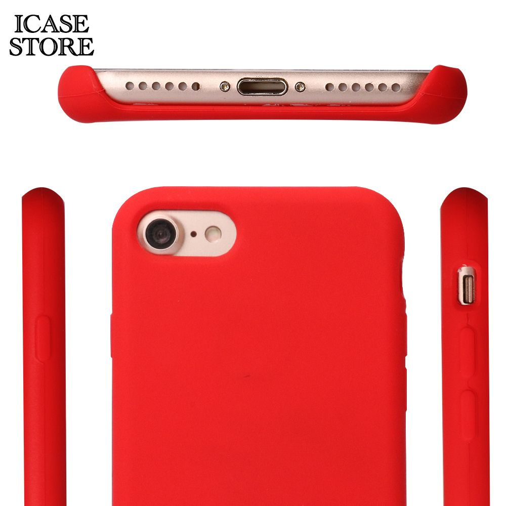 Ikase Store Liquid silicone phone case for iphone x Soft-touch microfiber luxury case for iphone 8 7 6 6s plus with retail box